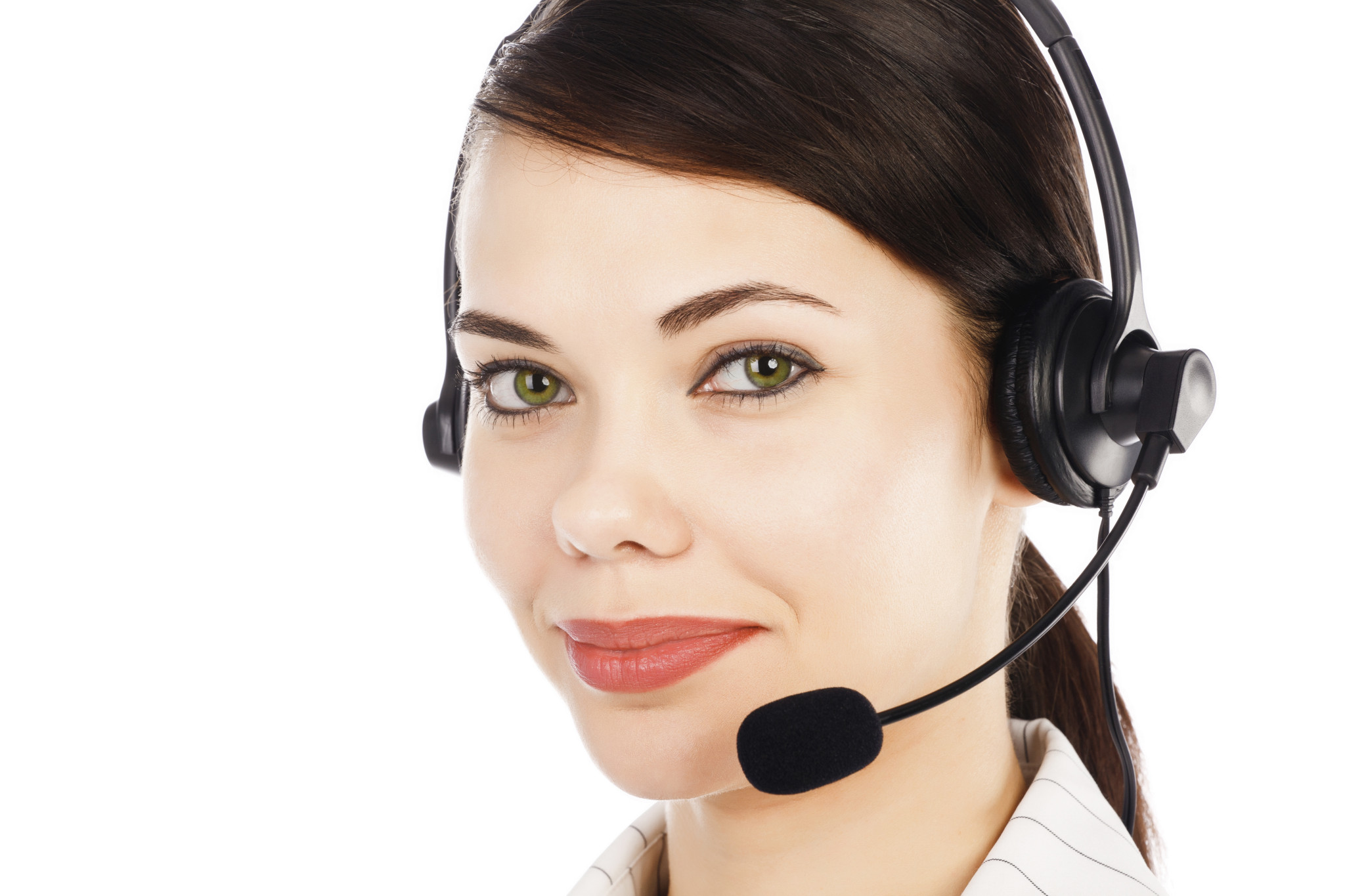 Beautiful customer service operator woman with headset